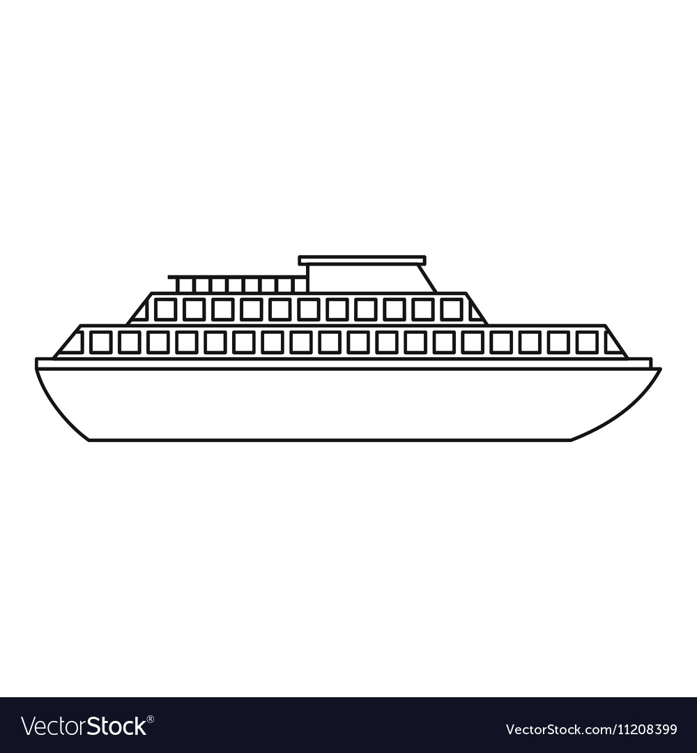 Cruise ship icon outline style vector image