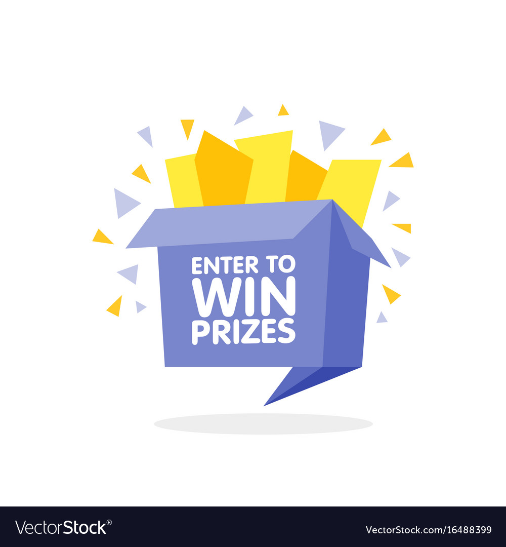 Enter to win prizes gift box cartoon origami style