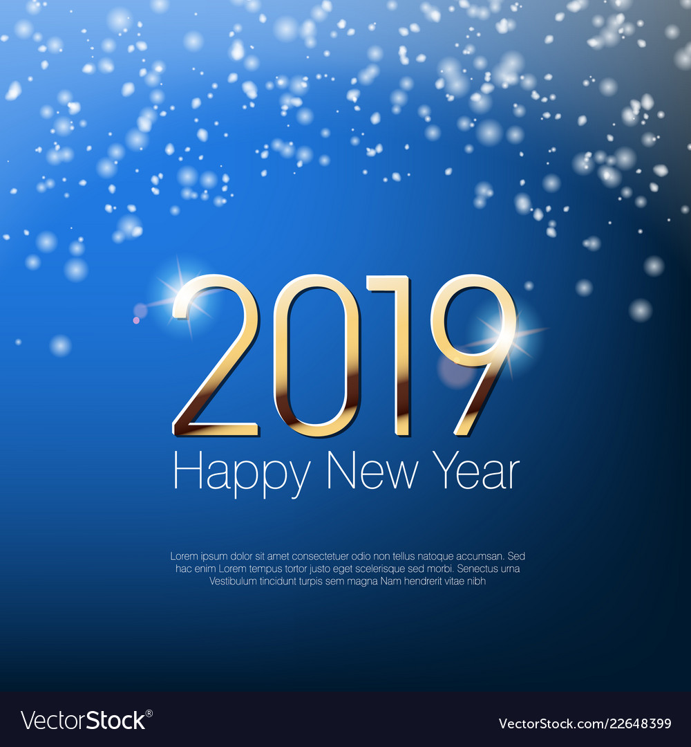 Happy new year 2019 snowy greeting card template