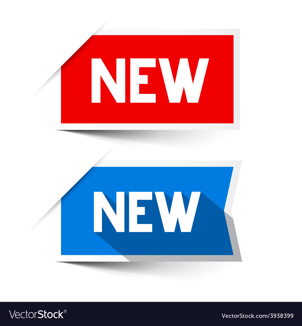 New Red and Blue Paper Labels - Stickers Set