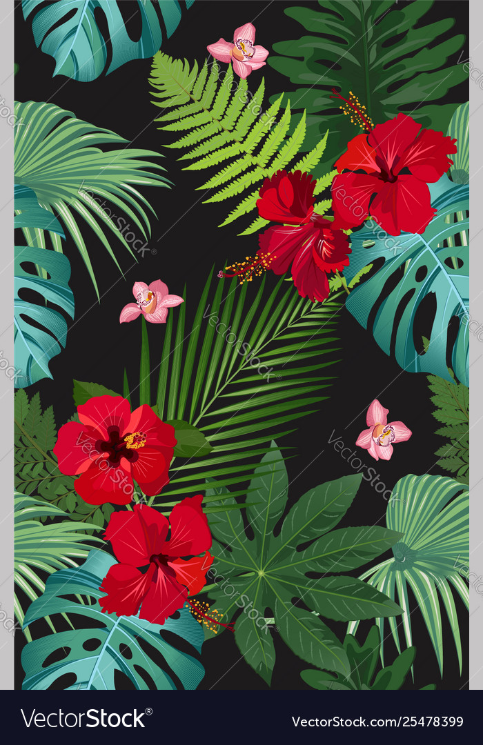 Seamless pattern tropical leaves with red