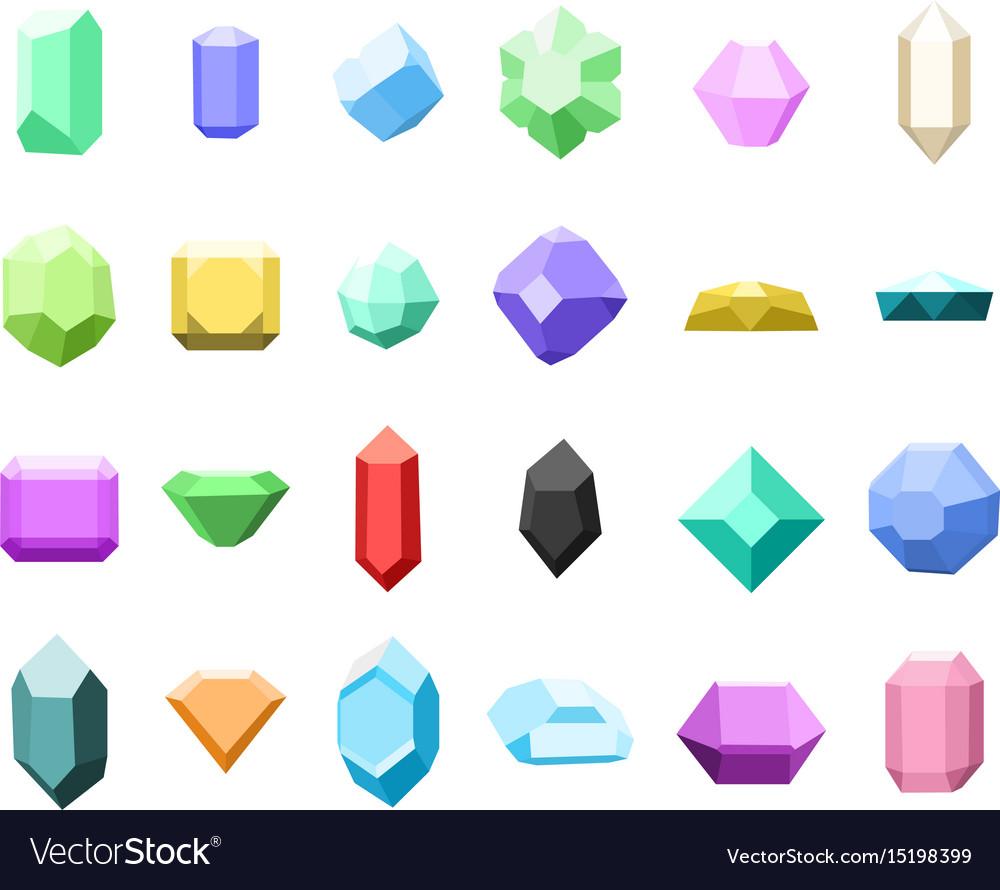 Set of 16 diamonds gemstone icons set