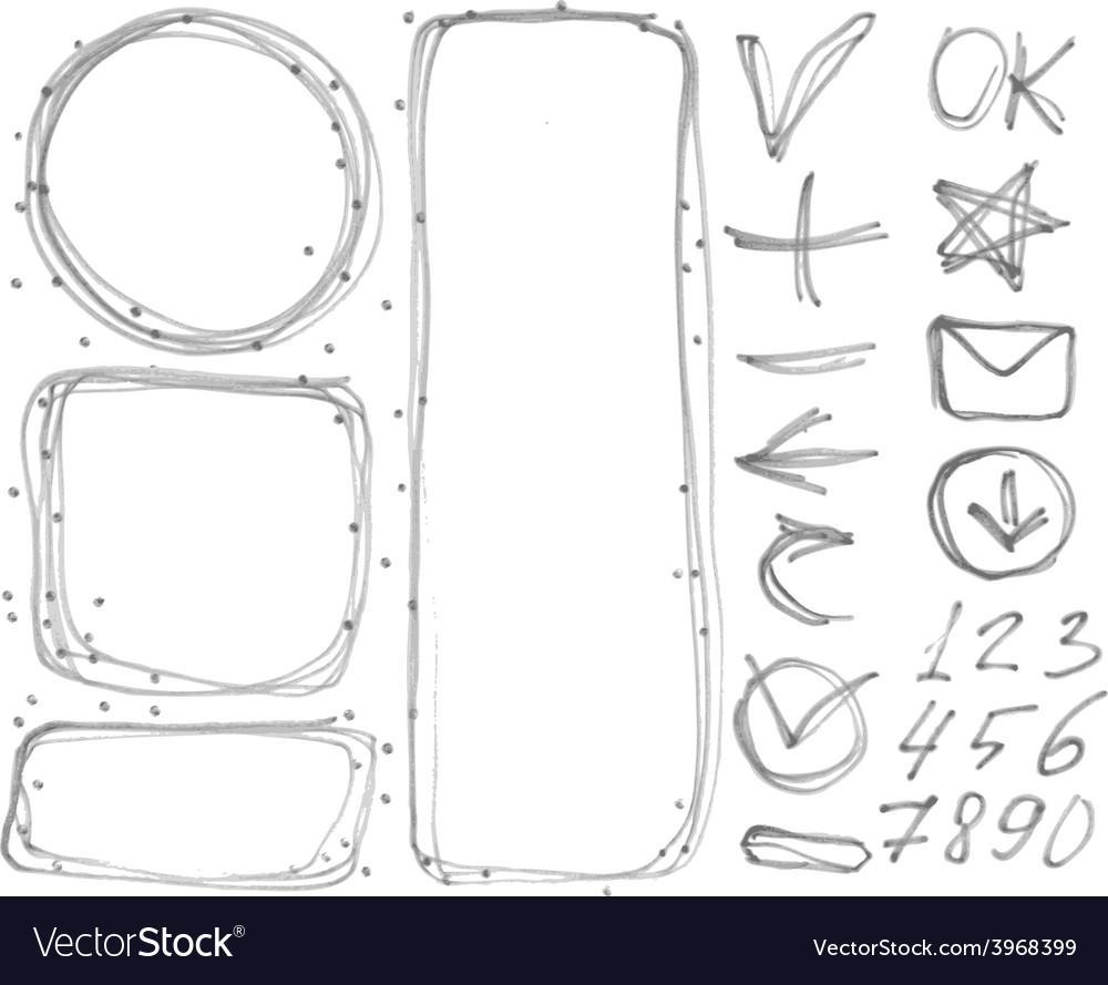 Set of figures banners arrows symbols outline vector image