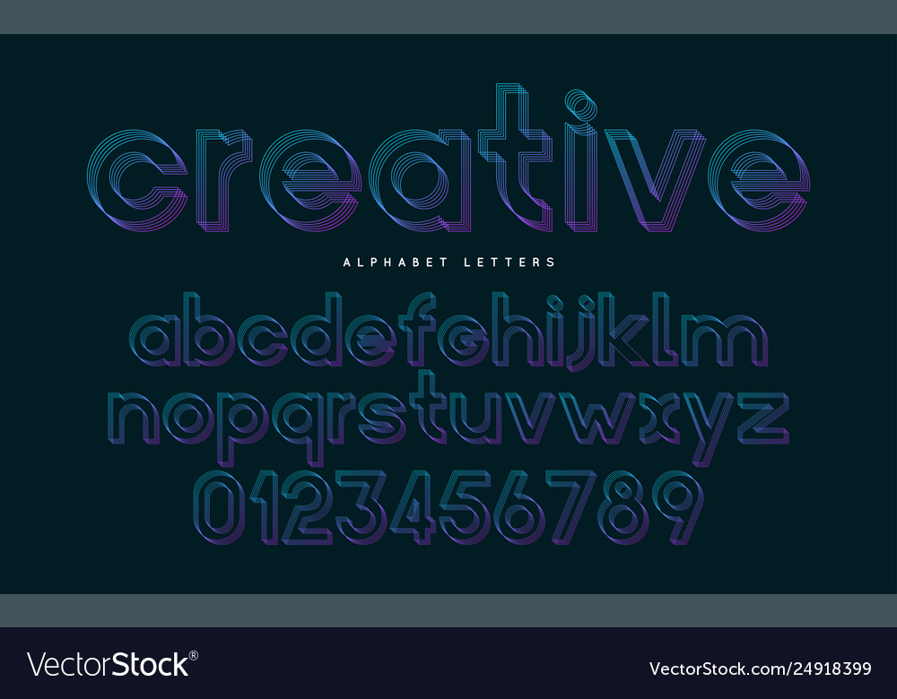 Stylized font and alphabet abc colorful