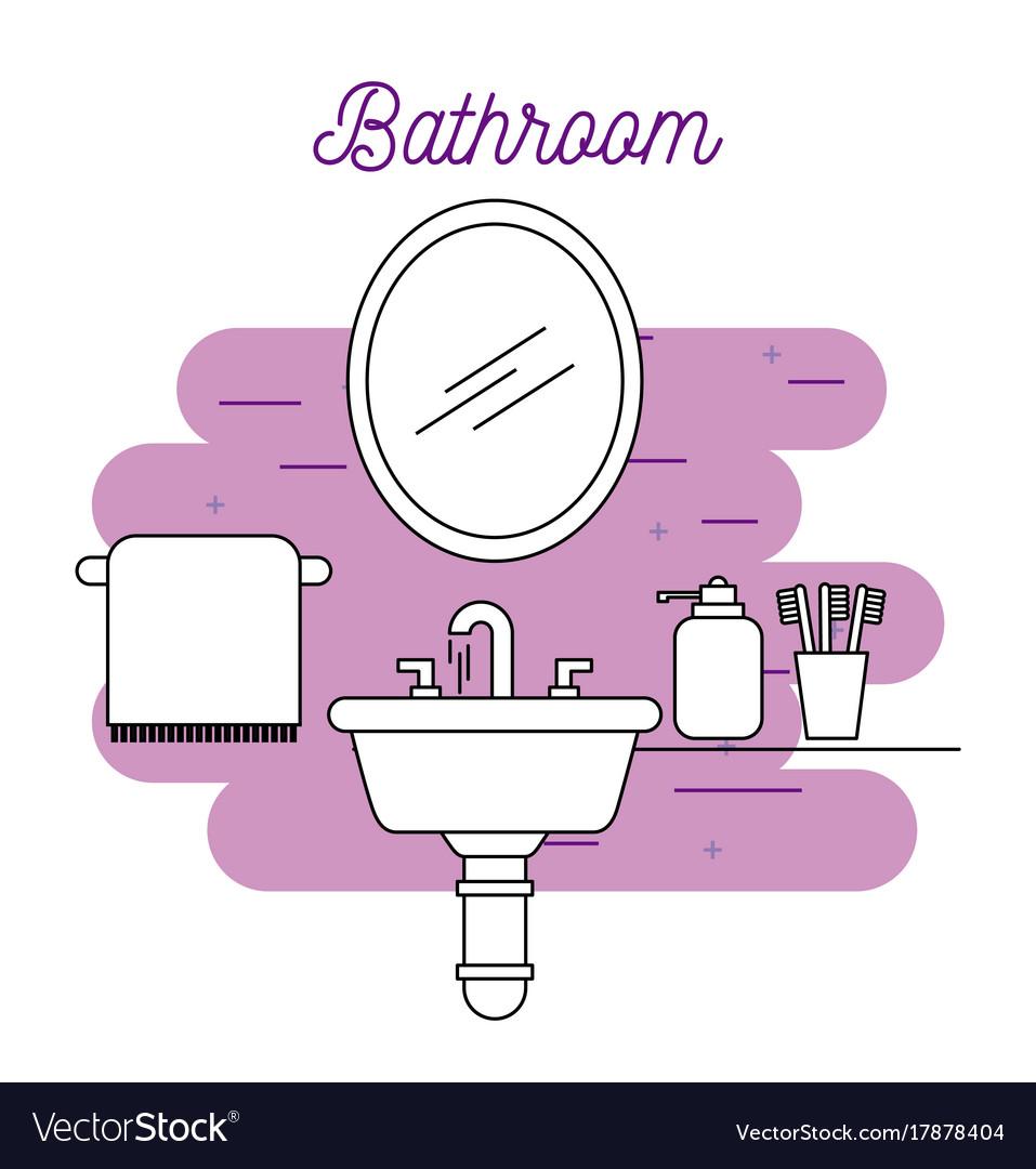 Bathroom sink towel mirror soap and toothbrush vector image