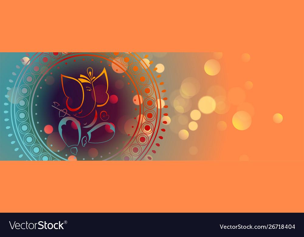Beautiful lord ganesha design colorful banner