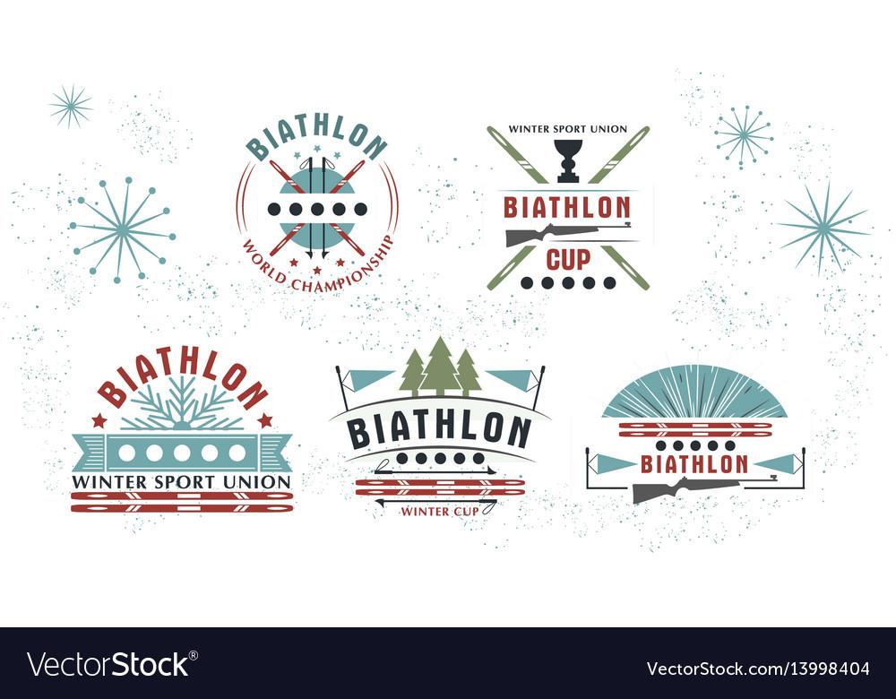 Biathlon logo set winter