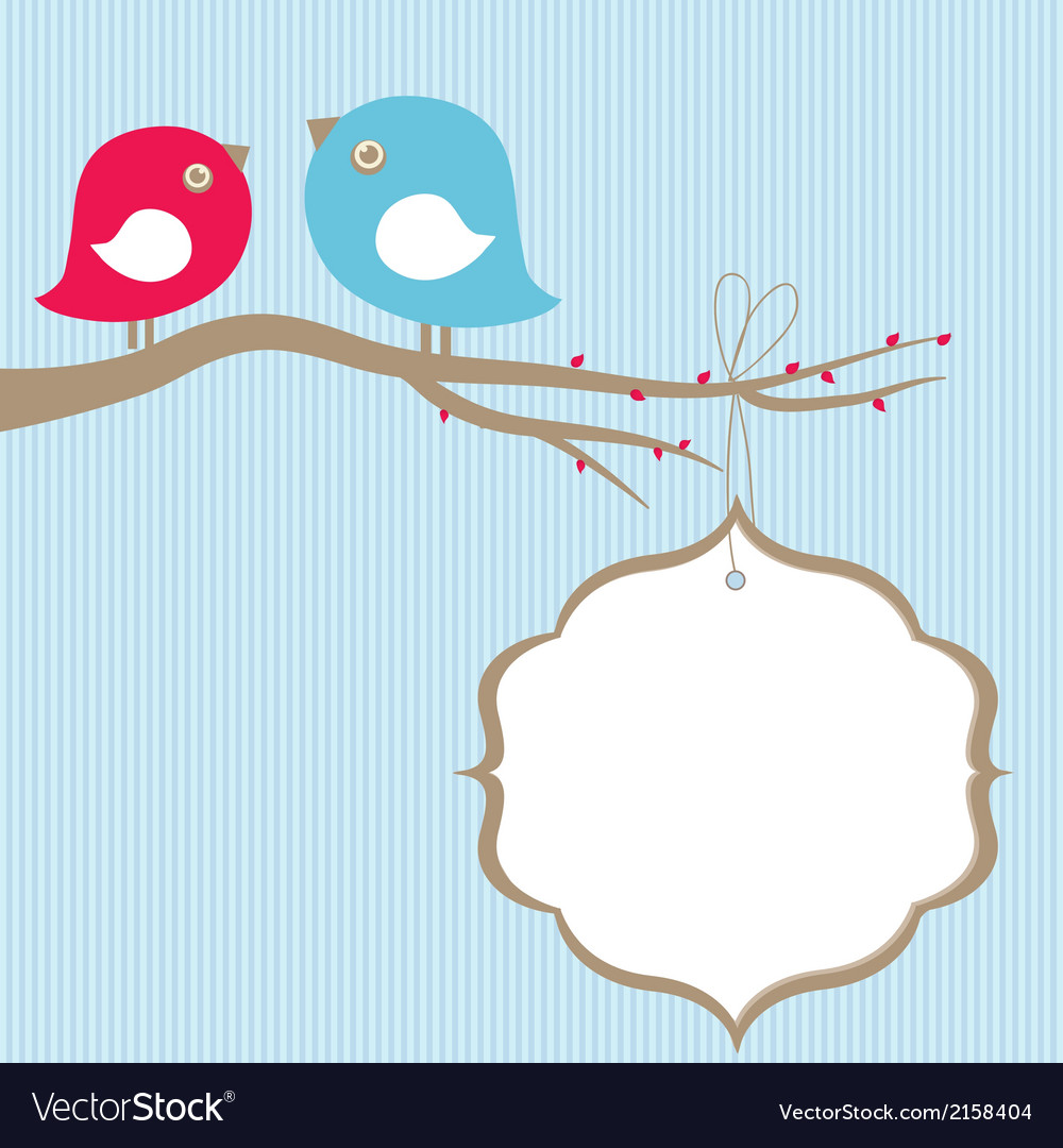 Cute Beauty Birds On The Tree Branch Royalty Free Vector