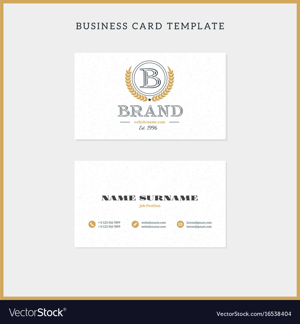 Double Sided Vintage Business Card Template With Vector Image