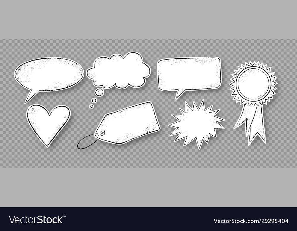 Grunge speech bubbles stickers