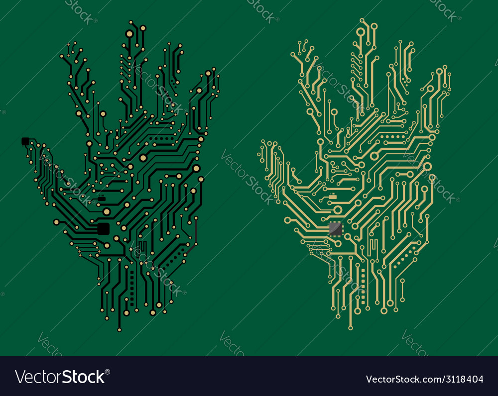 Hand prints with electrical circuit boards vector image
