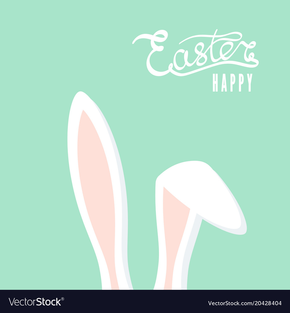 Happy easter greeting card with rabbit ears vector image
