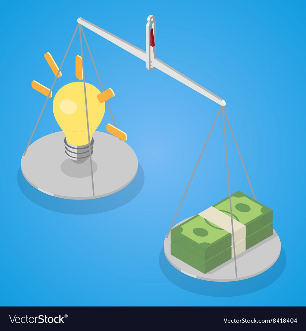 Idea and money balanced on libra