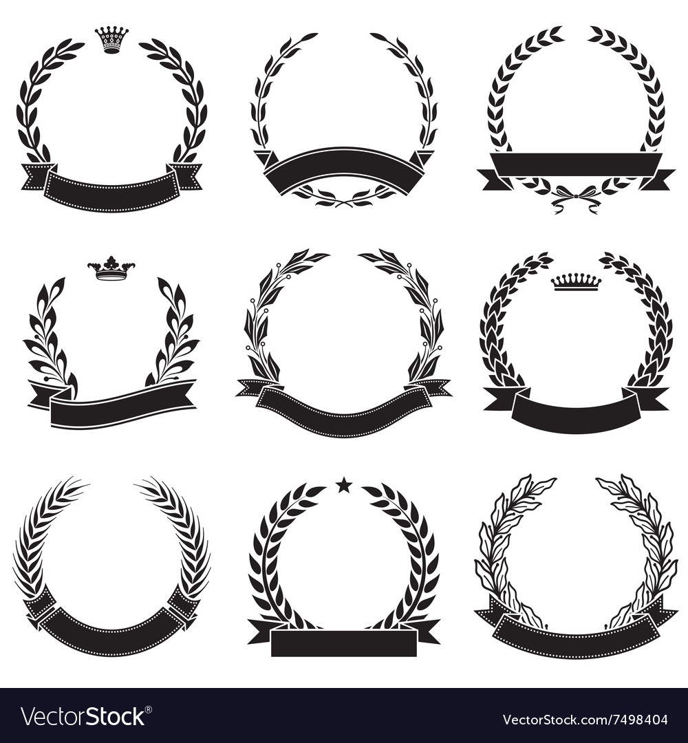 Laurel wreaths with ribbons award collection vector image