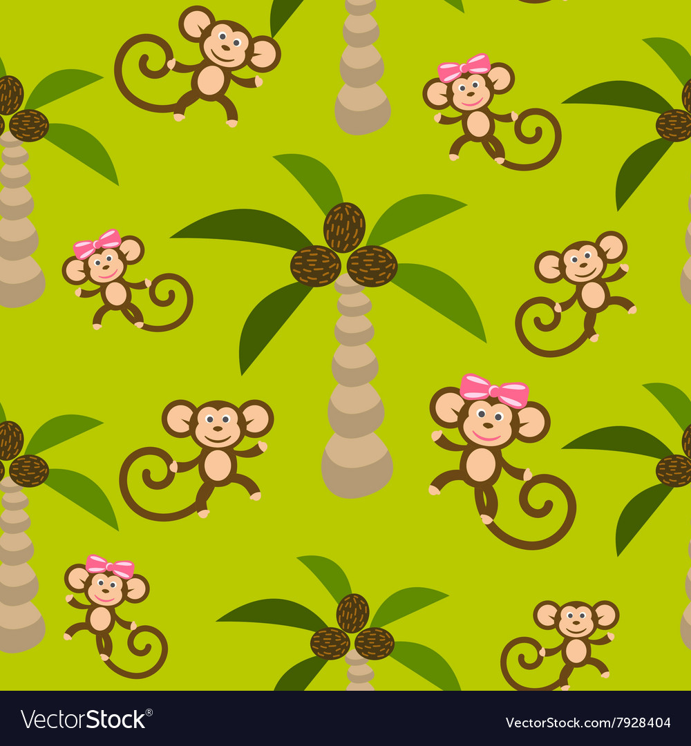 Monkey kid seamless pattern for textile vector image