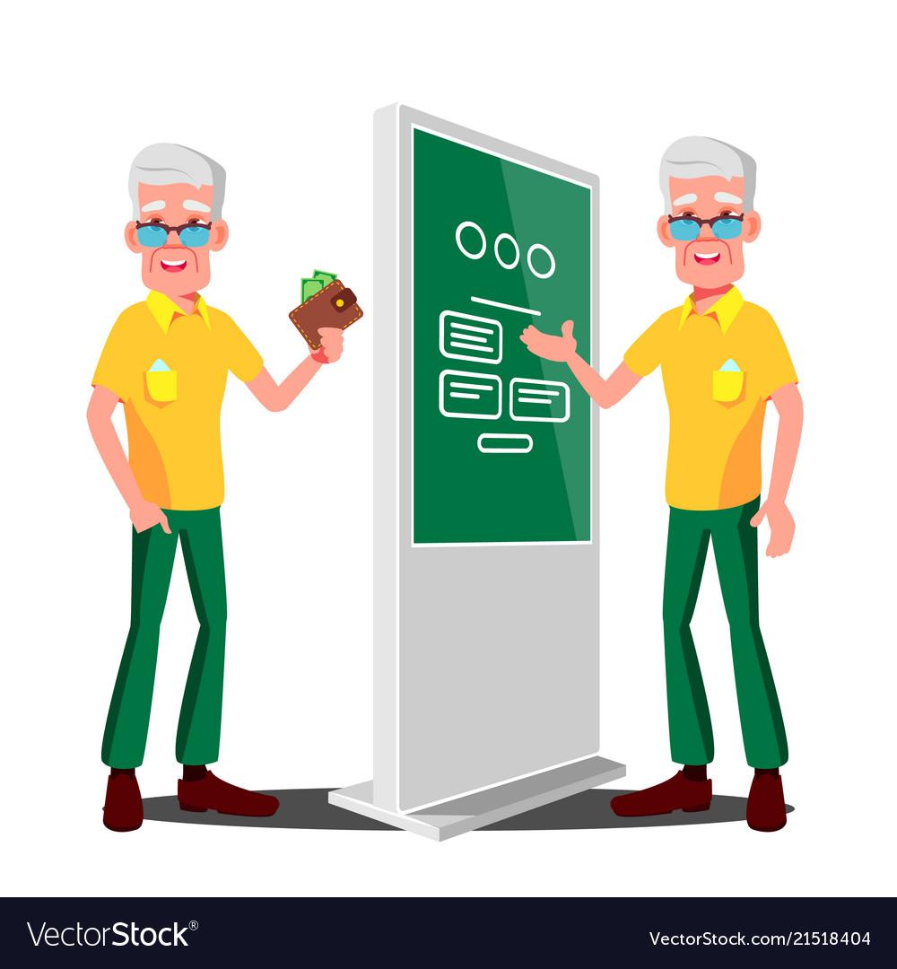 Old man using atm digital terminal