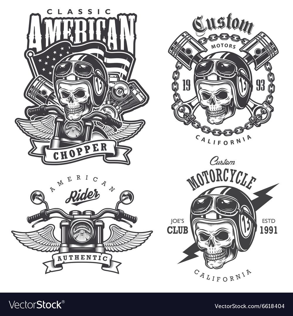 Set of Vintage motorcycle t-shirt prints vector image
