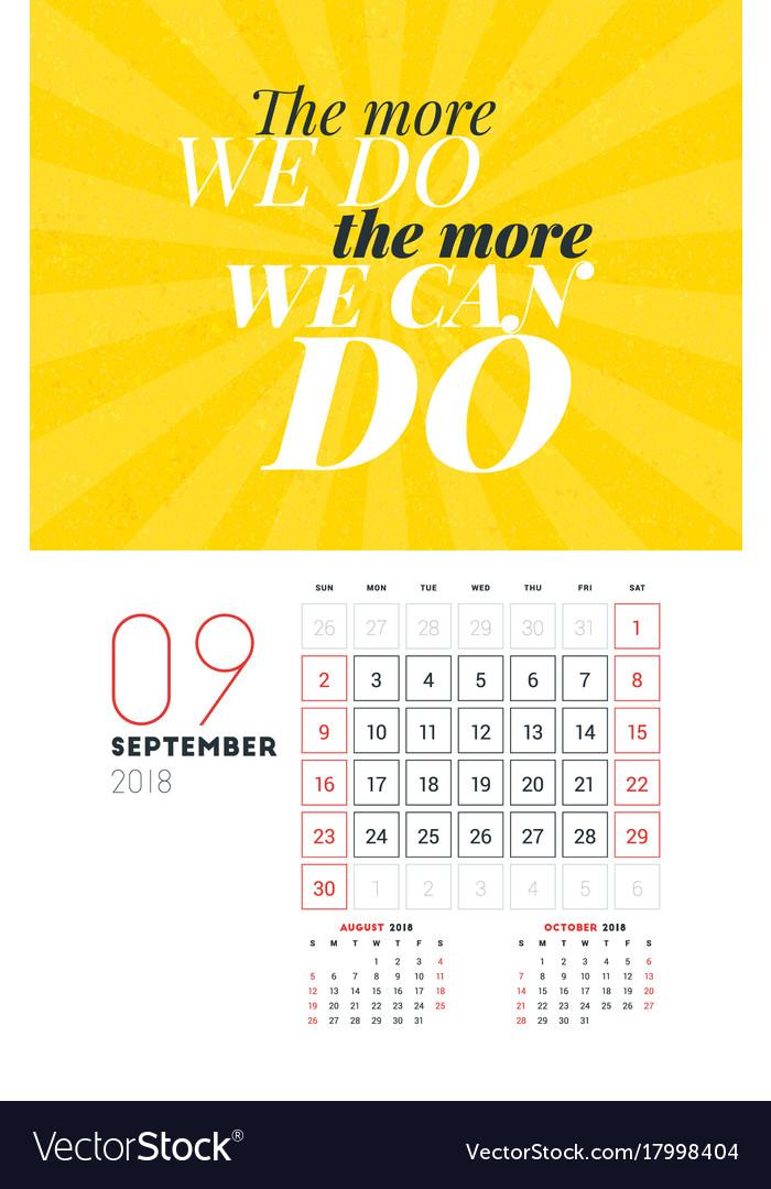 Wall Calendar Template For September 2018 Design Vector Image
