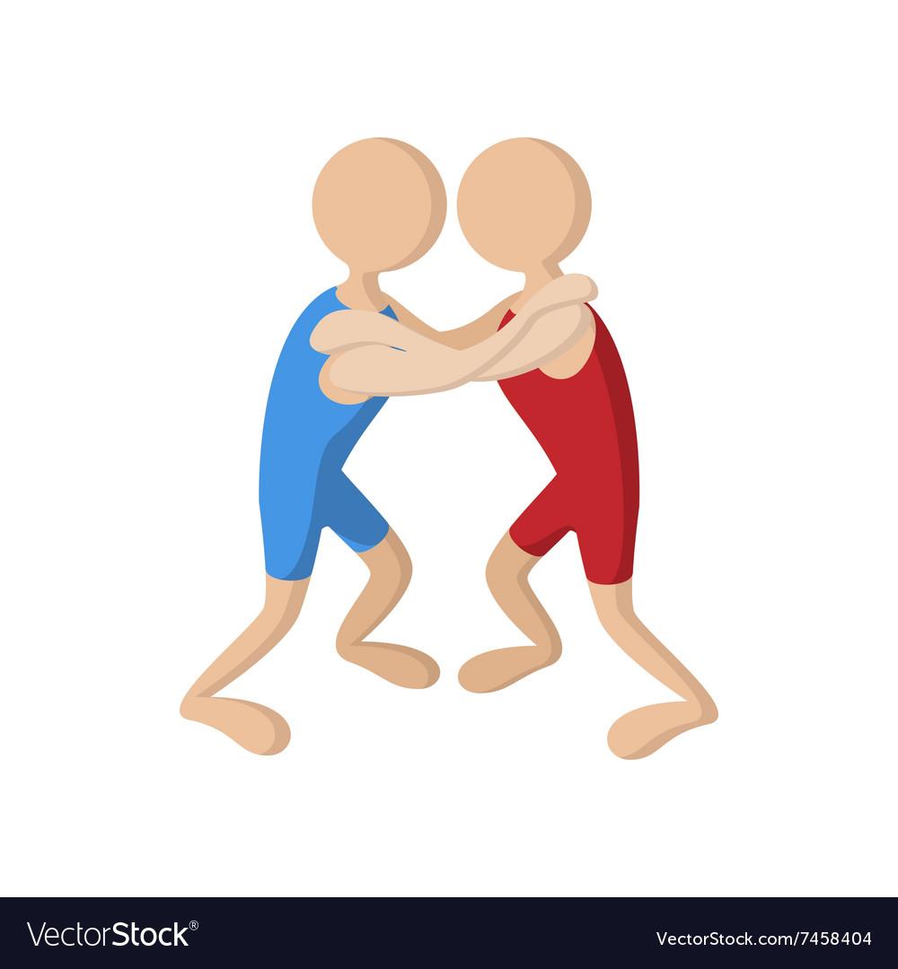Wrestlers cartoon icon vector image