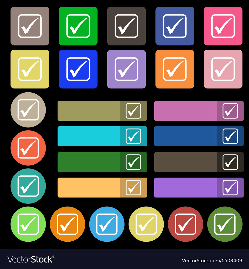 A check mark icon sign Set from twenty seven