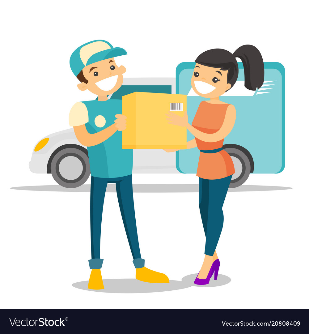 A courier delivering a package to a woman
