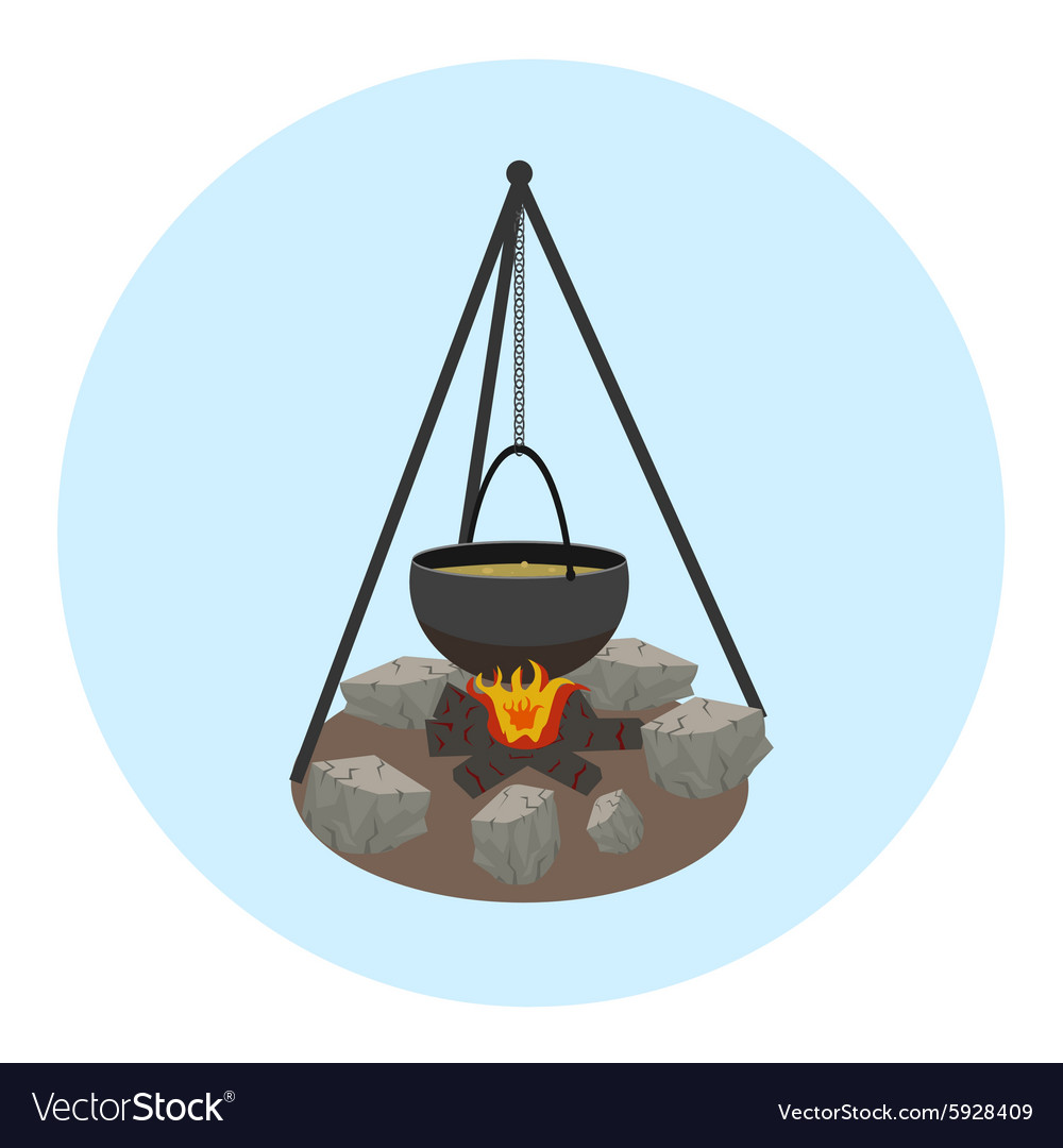 Campfire with pot icon Outdoor food preparing vector image