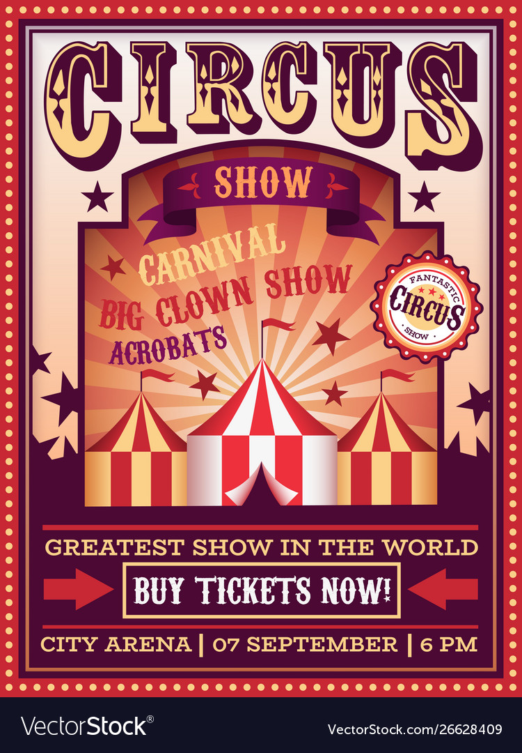 Circus poster traveling circus with tent carnival