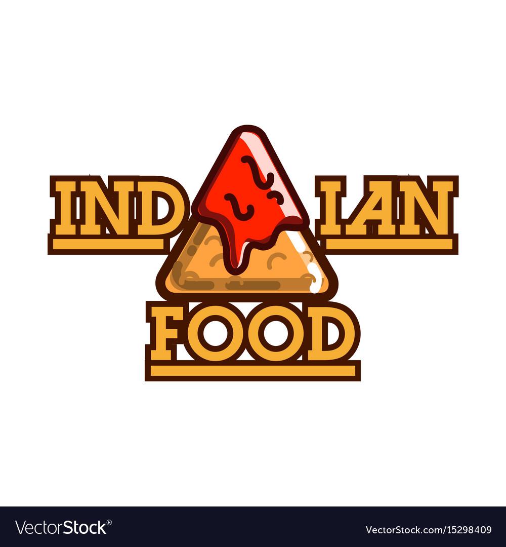 Color vintage indian food emblem