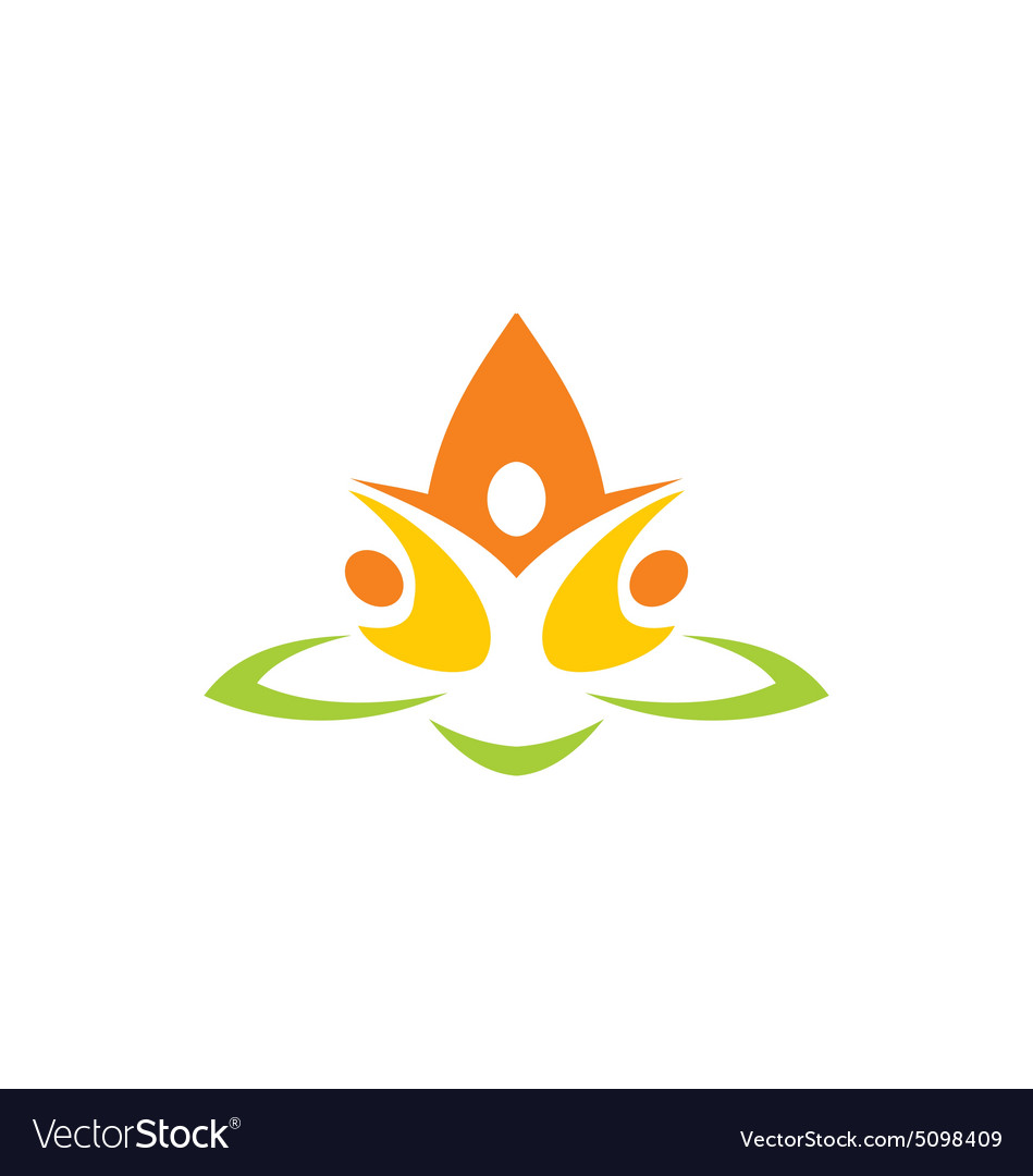 Eco people flower abstract yoga logo