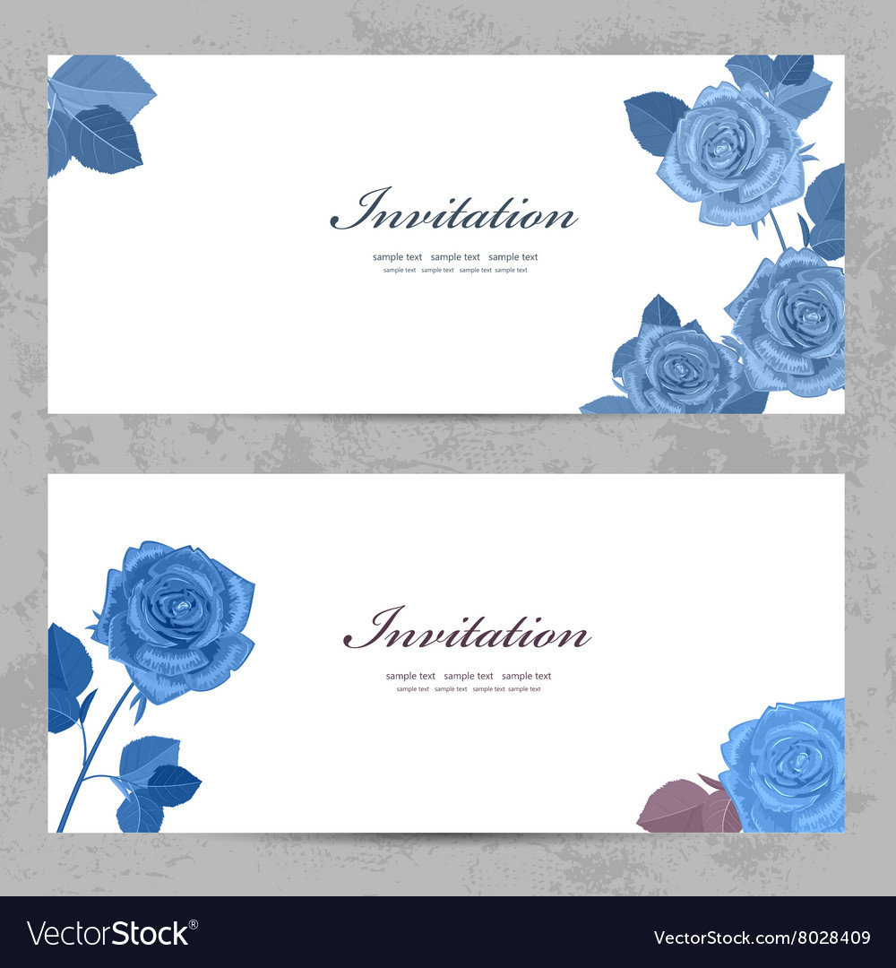 Fashion collection greeting cards with blue roses