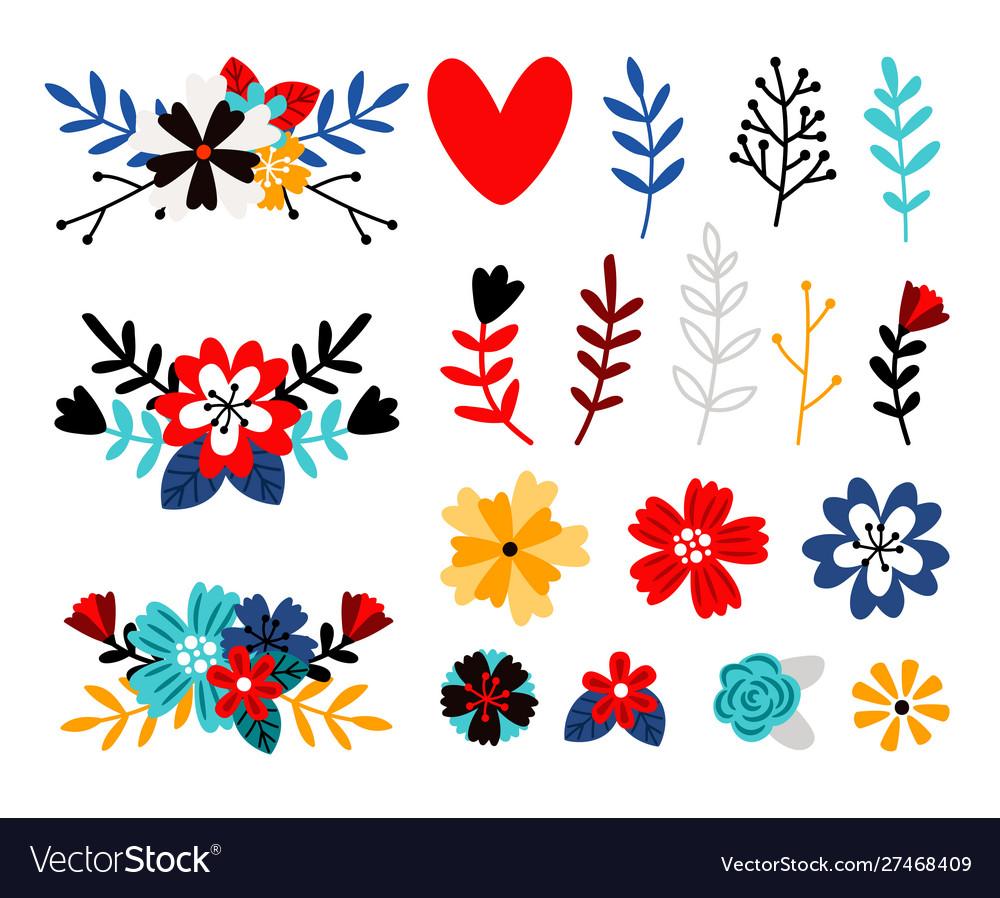 Flowers flat color set