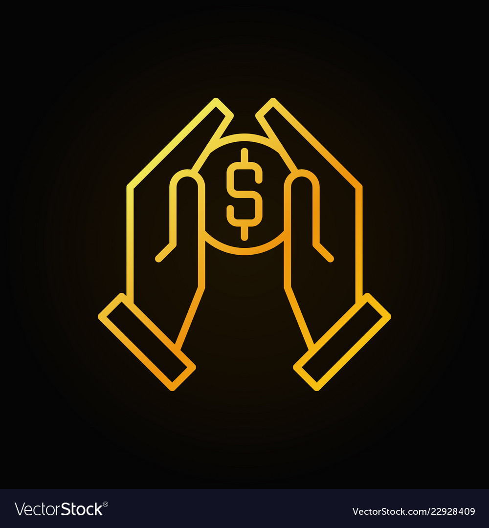 Hands holding coin golden outline icon
