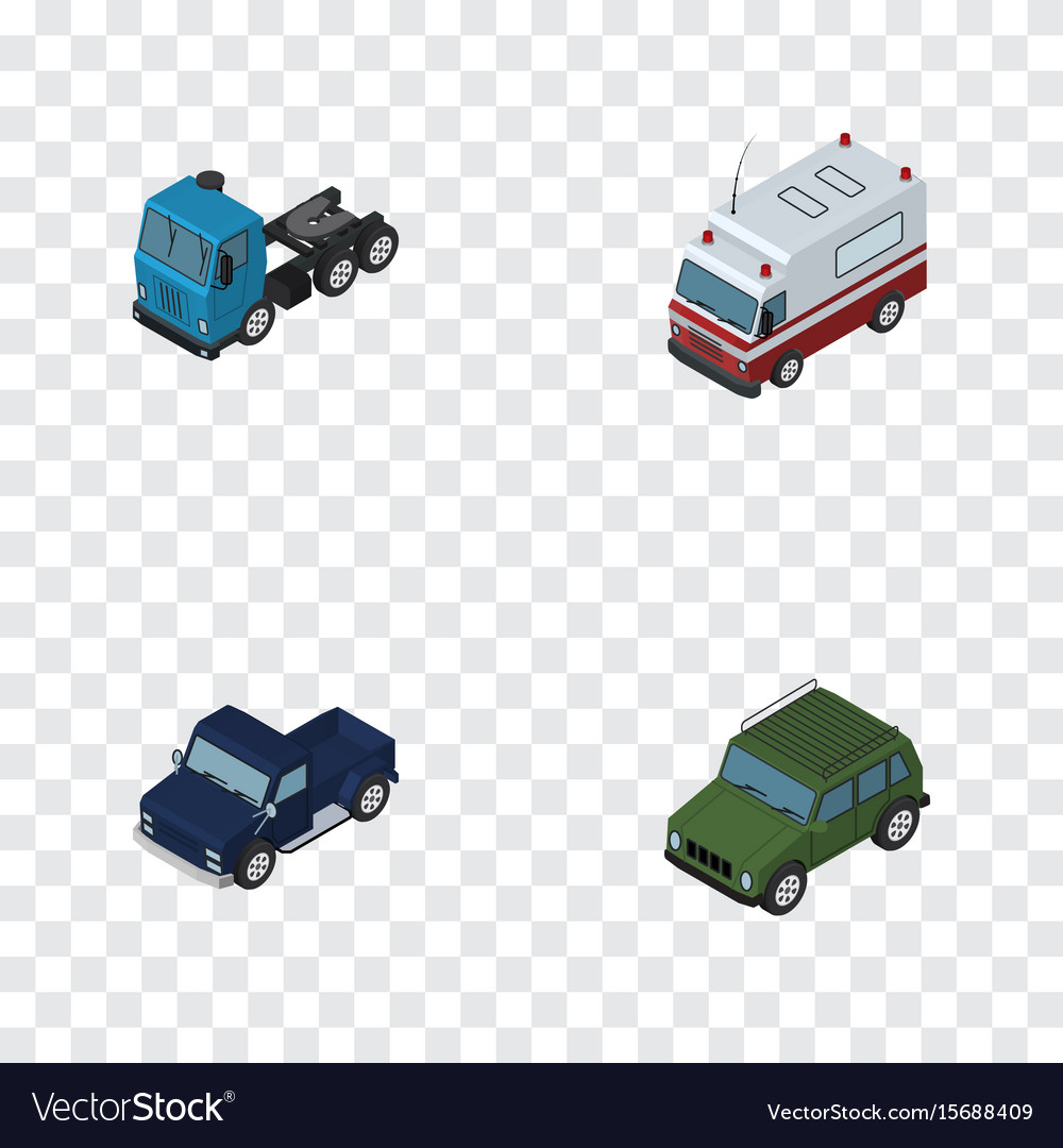 Isometric automobile set of suv armored truck