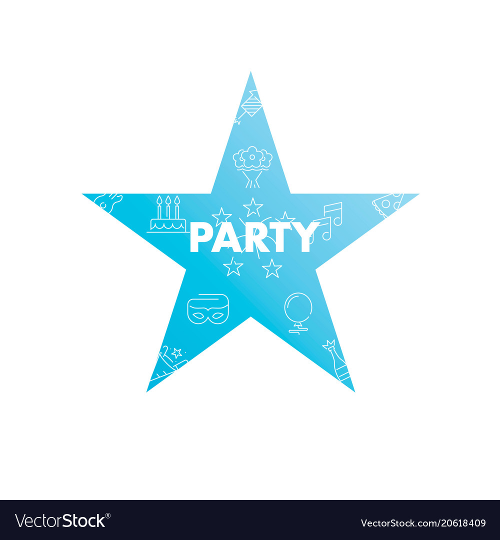 Line icons in star shape party