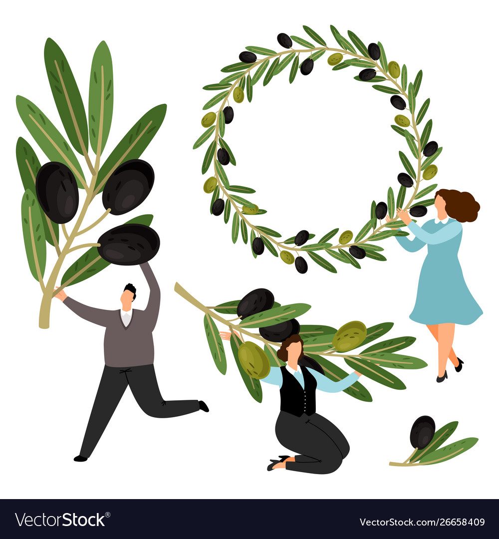 People hold olive branches and olive wreath