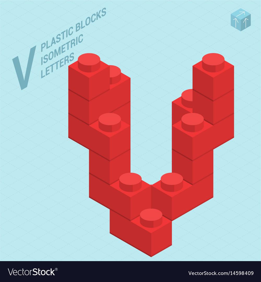 Plastic blocs letter v vector image