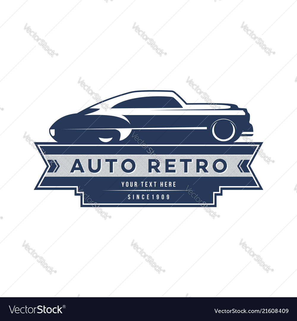 Retro Car Logo Template Design Vintage Logo Style Vector Image