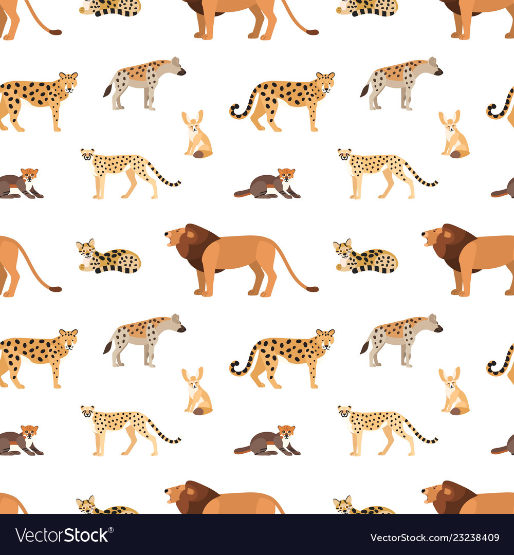 Seamless pattern with african and american animals