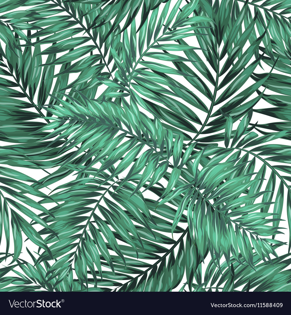 Seamless Tropical Jungle Palm Leaves Pattern