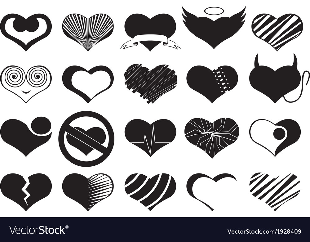 Set Of Different Hearts Royalty Free Vector Image