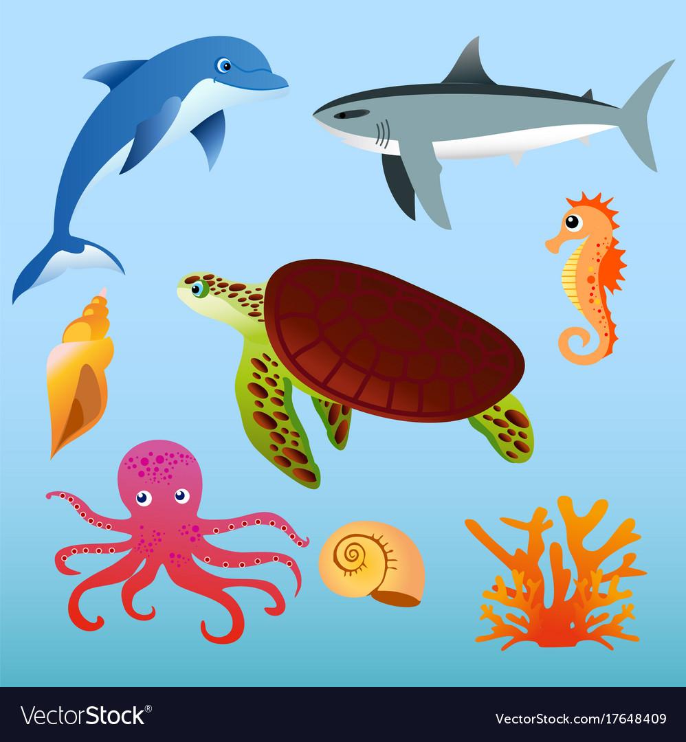 Set of sea animals on light vector image