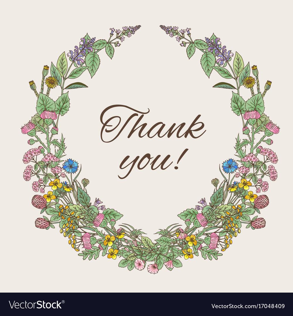 Thank you card inscription inside the wreath of