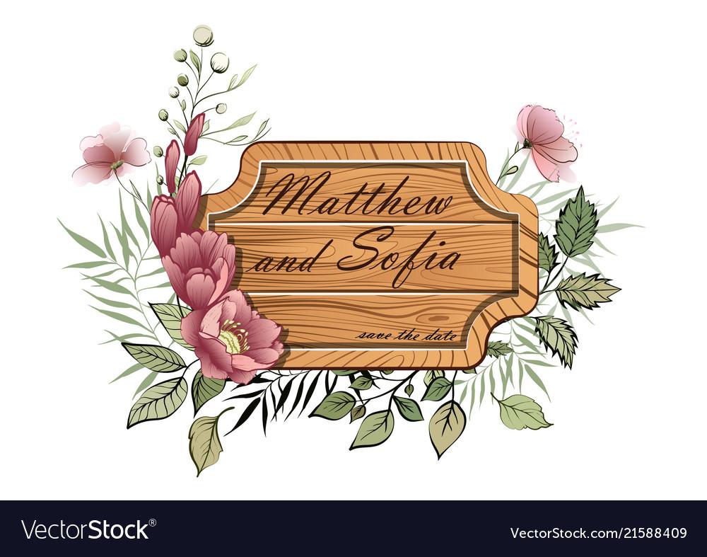Wedding floral invite wooden plate vintage