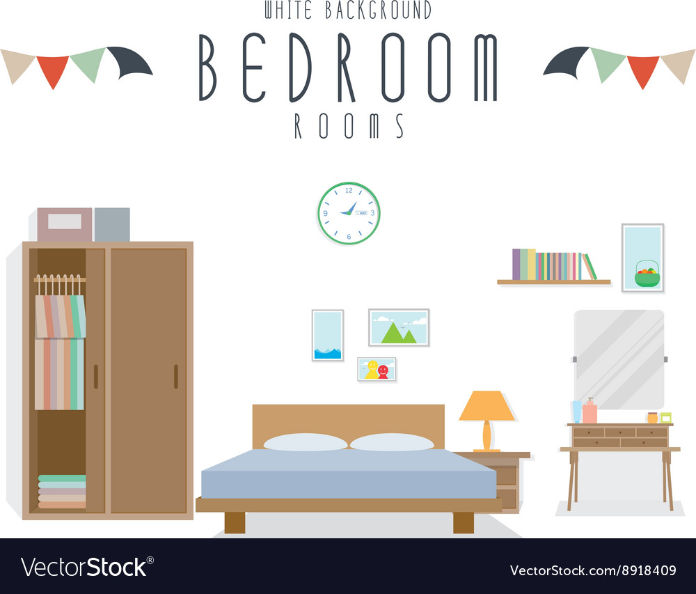 White Background Bedroom Royalty Free Vector Image