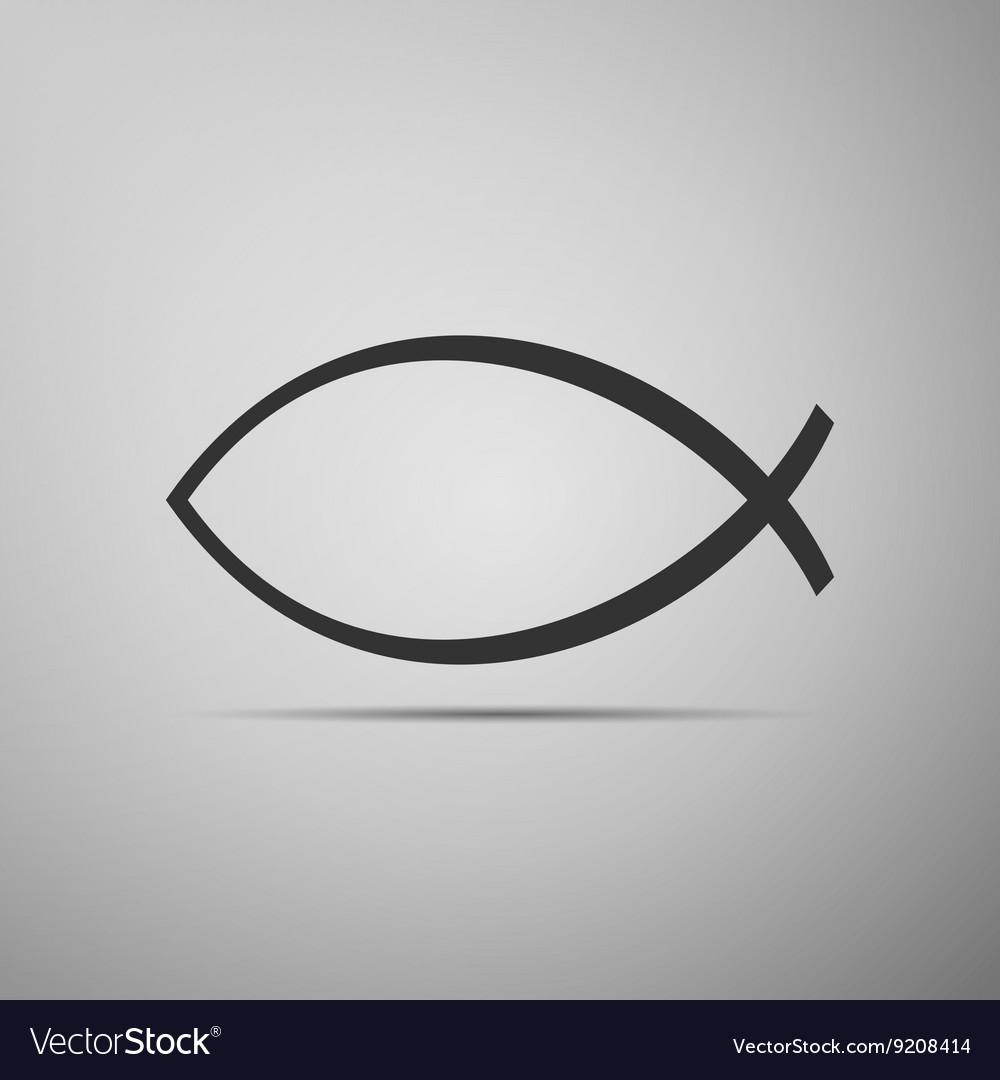 christian fish icon on grey background royalty free vector rh vectorstock com Fish Vector Lighting System Clip Art Christian Fish Symbols