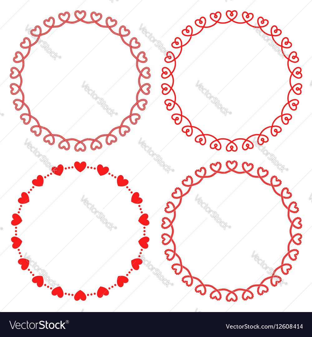 Collection of round frames from hearts