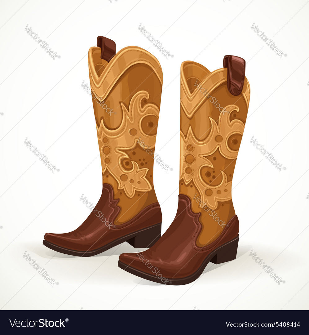 Embroidered cowboy boots isolated on white