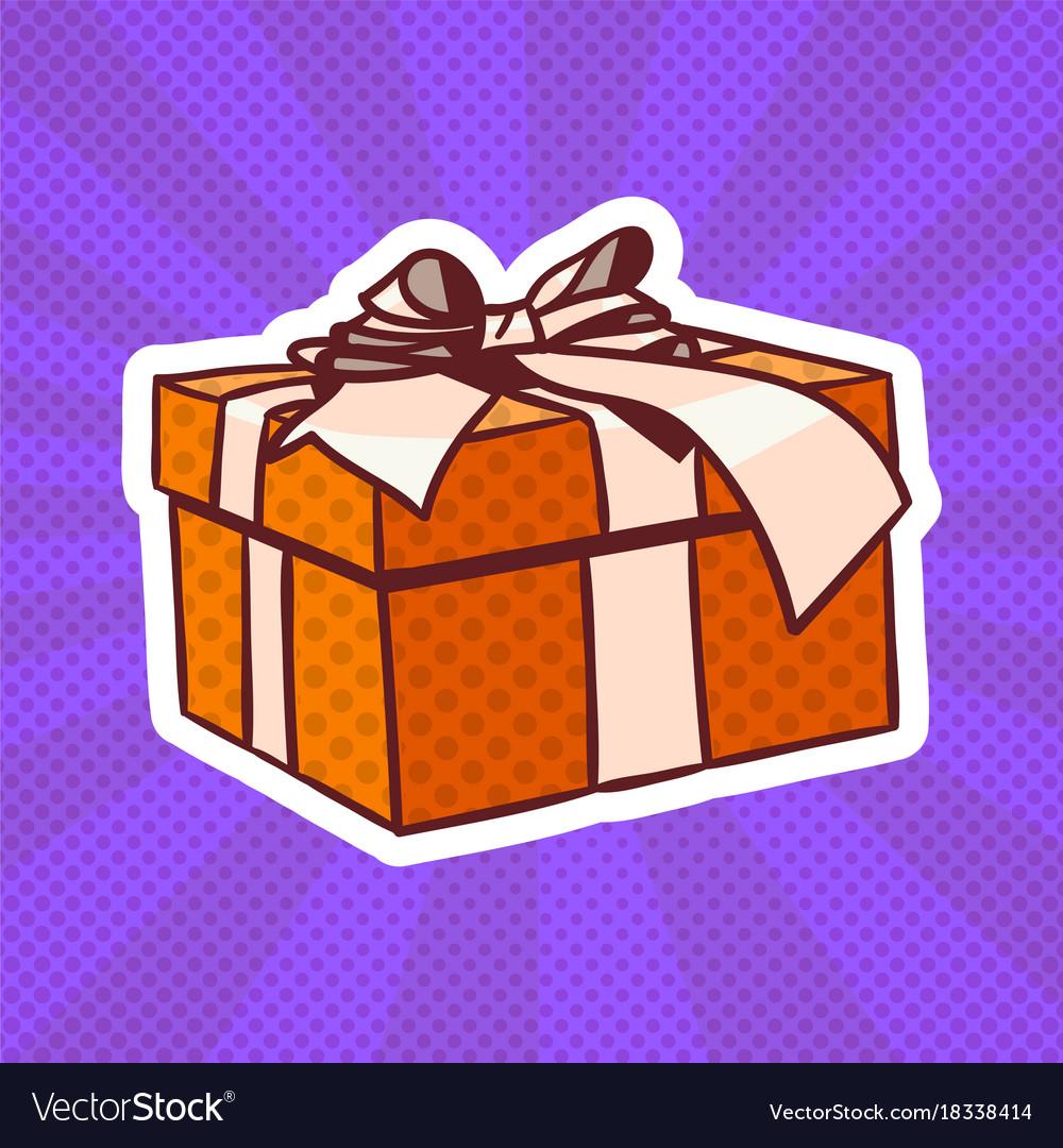 Gift box pop art retro style of realistic present vector image