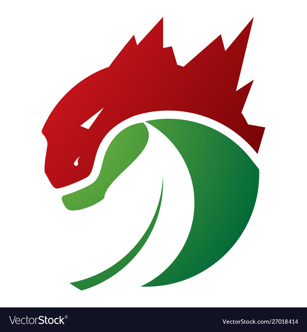 Godzilla Monster Lizard With Negative Space Leaf Vector Image