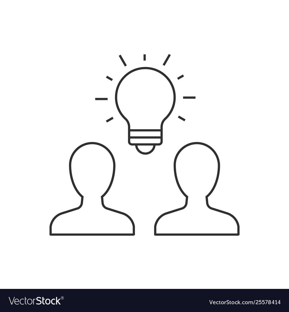 Group people brainstorming outline icon